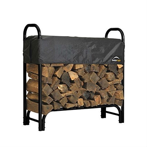 Incroyable Outdoor Firewood Rack 4 Ft Steel Frame Wood Log Storage With Cover