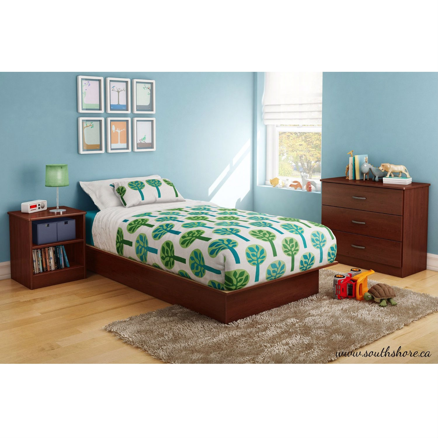 twin size platform bed frame in royal cherry wood finish  - retail price