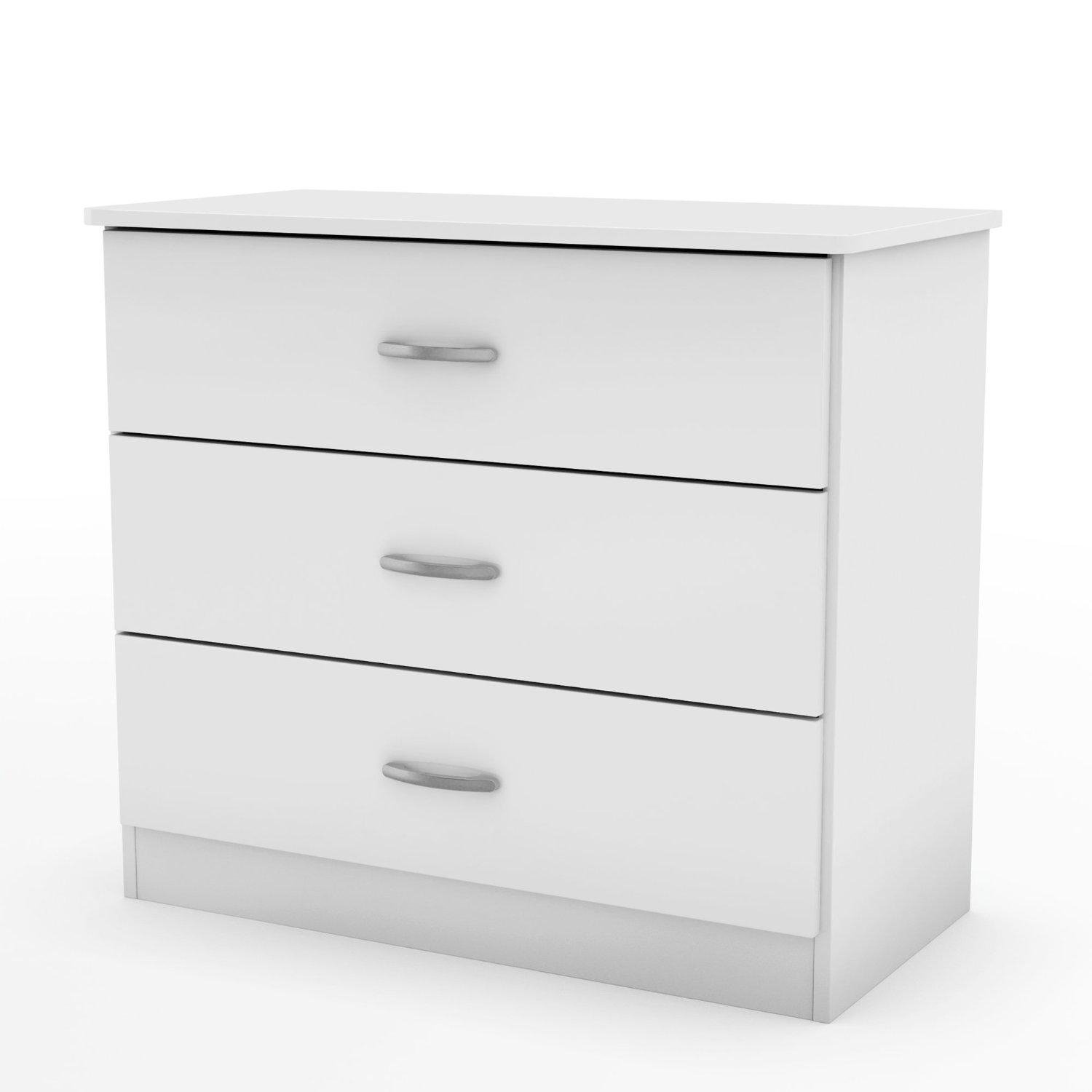 . White Modern Bedroom Chest Dresser with 3 Drawers