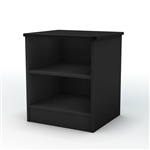 Black Nightstand with 2 Open Storage Compartment Shelves
