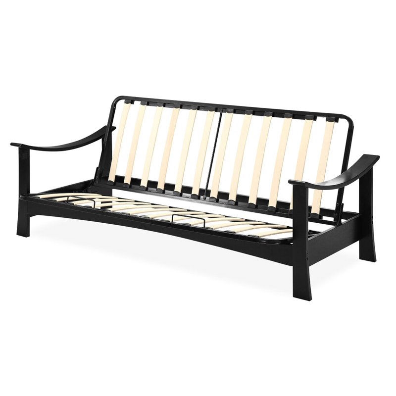 Full Size Modern Asian Style Futon With Wood Arms And Steel Slatted Frame