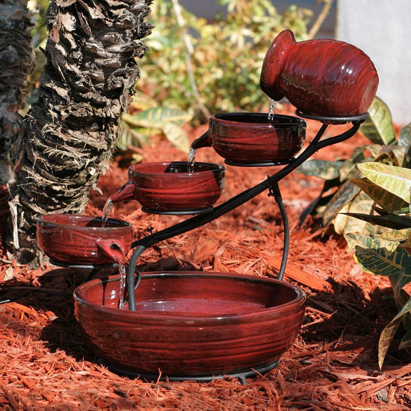 Red Ceramic 5 Tier Hand Painted Outdoor Bird Bath Fountain With Solar Pump