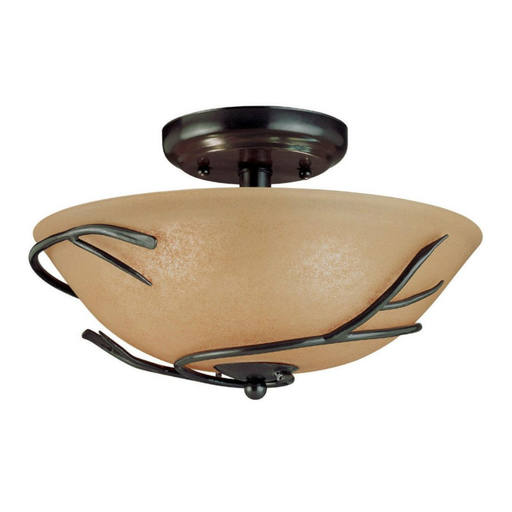 Round 12 Inch Semi Flush Mount Ceiling Light With Twig