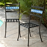 Set of 2 - Black Powder Coated Iron Metal Patio Bistro Chairs with Aqua Blue Backrest