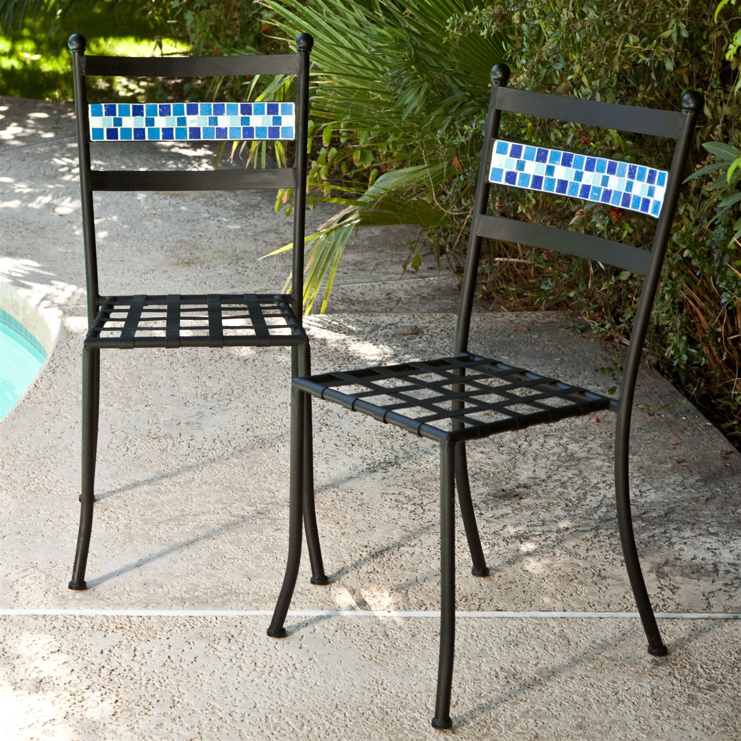 Set of 2 black powder coated iron metal patio bistro chairs with aqua blue backrest