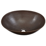 Vessel Style Solid Copper Bathroom Sink Oval 18 x 14 inch