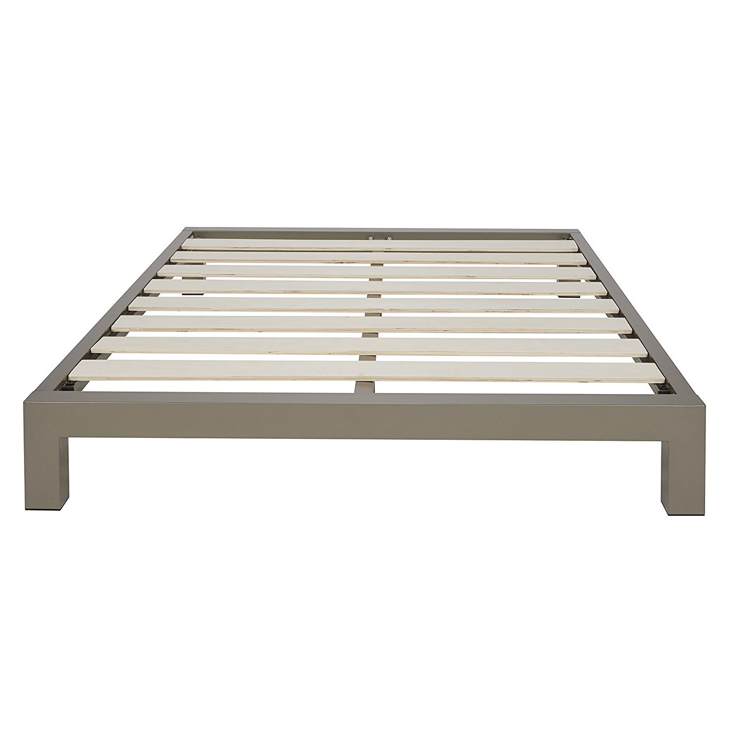 Image of: Queen Size Champagne Metal Platform Bed Frame With Wood Slats Fastfurnishings Com