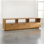 Modern Light Oak Finish TV Stand Entertainment Center - Fits up to 70-inch TV