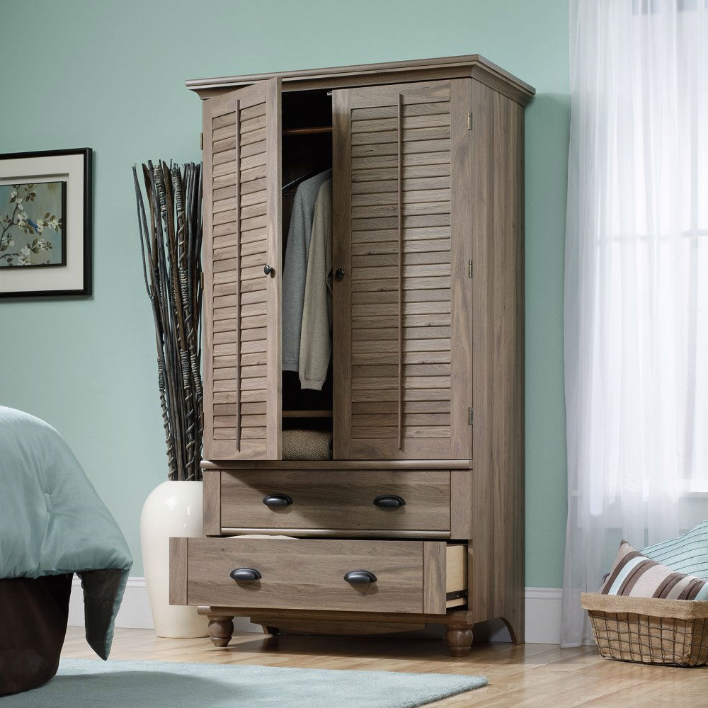 Wardrobe Cabinet Bedroom Storage Or Tv Armoire In Medium Brown Oak Finish