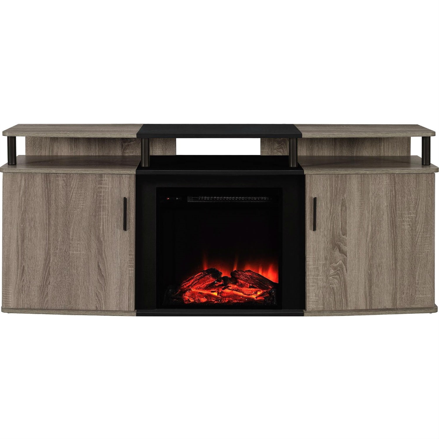 Sonoma Oak Black Electric Fireplace TV Stand Accommodates up to