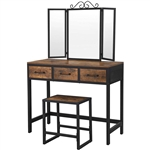 Farmhouse Vanity Table Set Writing Desk Jewelry Station Folding Mirror