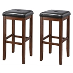 Set of 2 Vintage Mahogany Stools with Black Upholstered SeatSet of 2 Vintage Mahogany Stools with Black Upholstered Seat