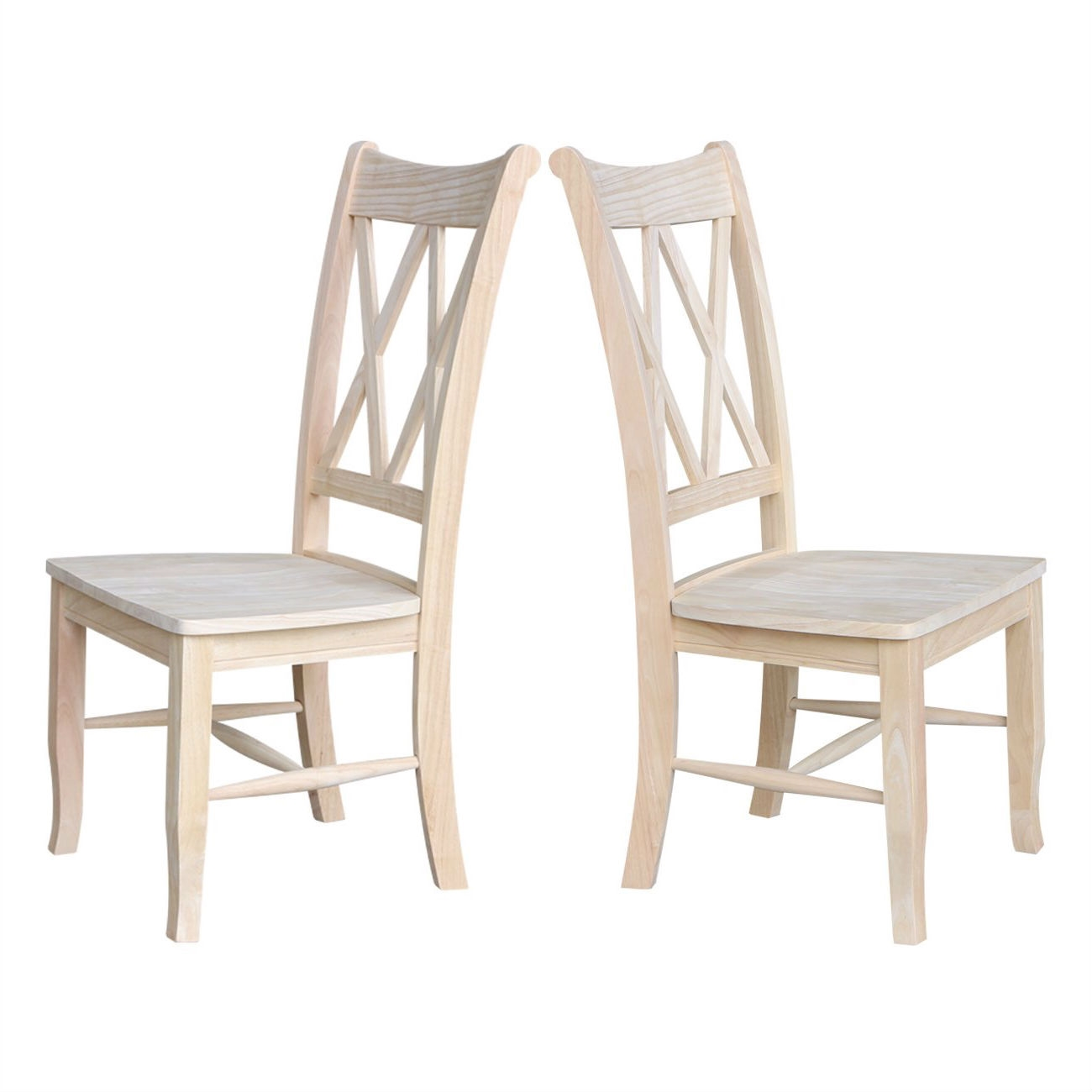 Set Of 2 Traditional Unfinished Wood Dining Chairs