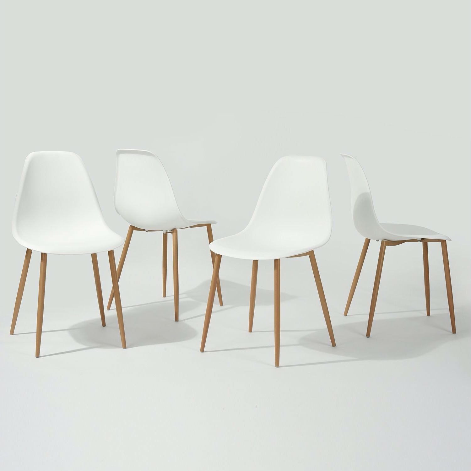 Pleasant Set Of 4 Modern Mid Century Style Dining Chairs In White With Wood Finish Legs Ibusinesslaw Wood Chair Design Ideas Ibusinesslaworg