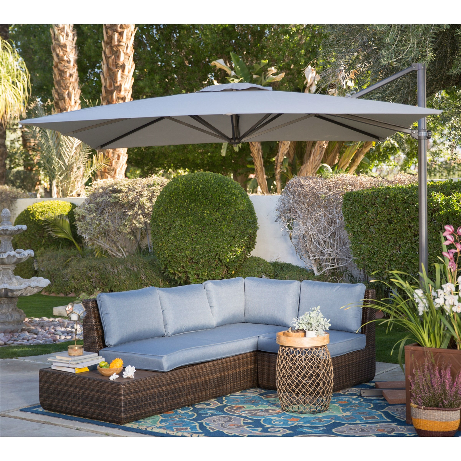 square 85 ft offset patio umbrella with mocha shade and bronze finish pole - Offset Patio Umbrella