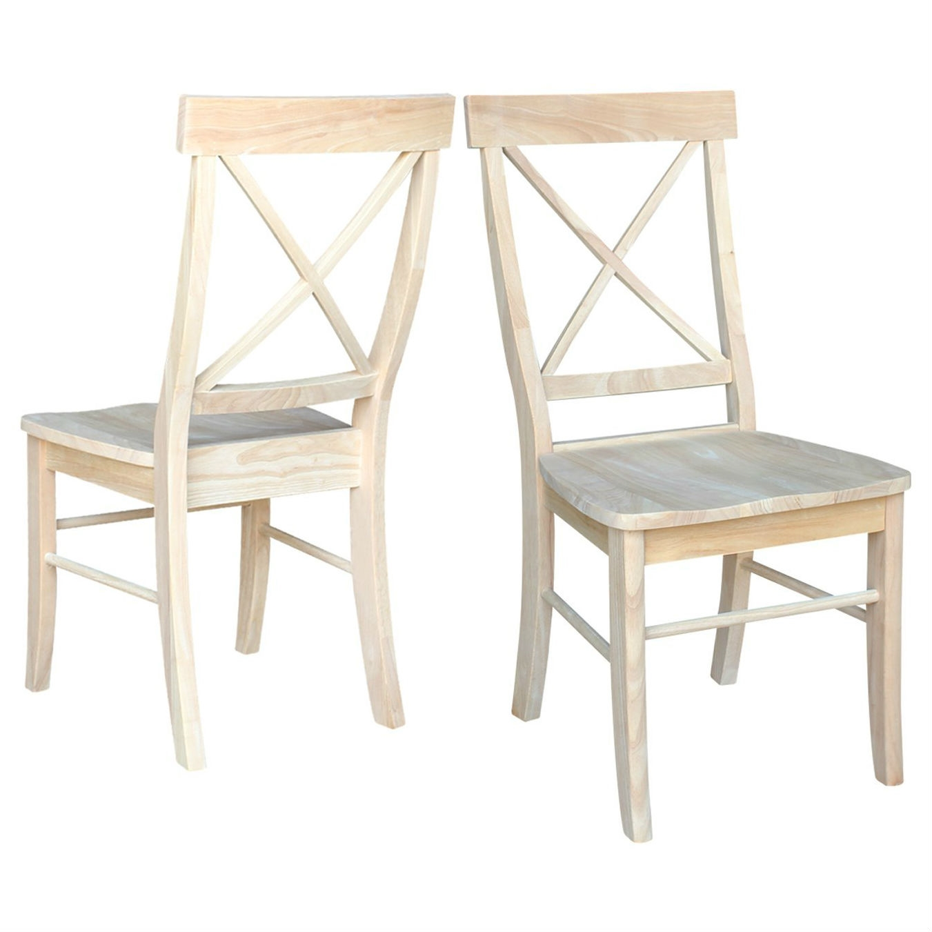 Set Of 2 Unfinished Wood Dining Chairs With X Back Seat Backrest