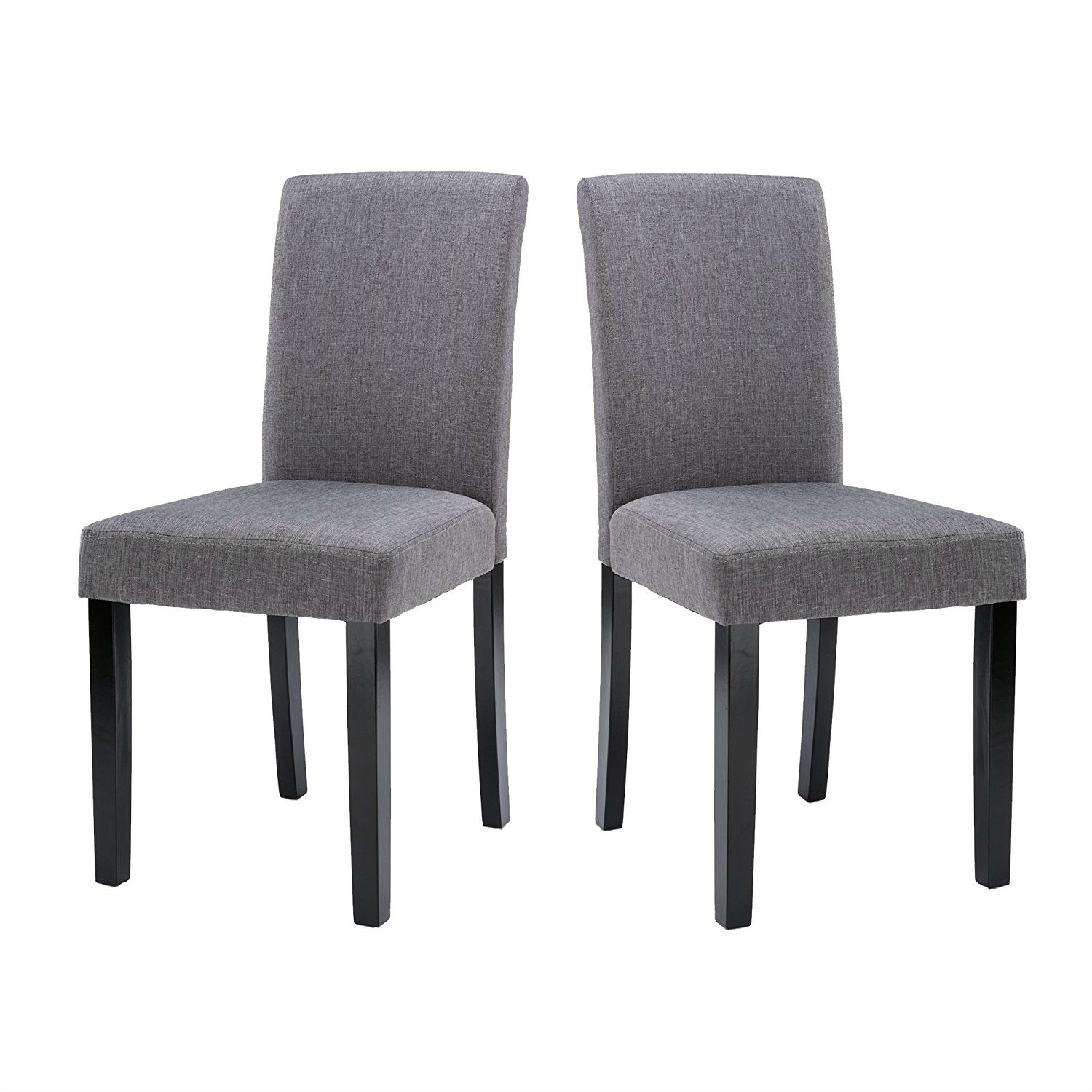 Set of 2 - Grey Fabric Dining Chairs with Black Wood Legs