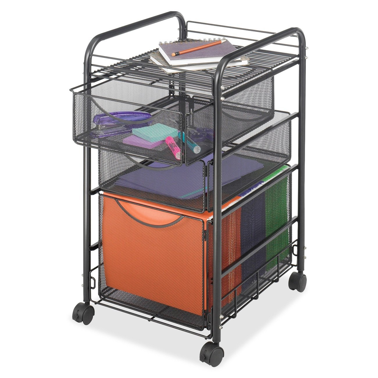 Black Metal Steel Mesh Mobile Filing Cabinet Cart With 2