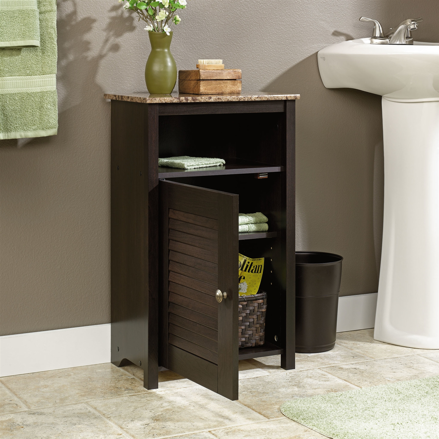 Bathroom Floor Cabinet with Shelf and Faux Granite Top ...