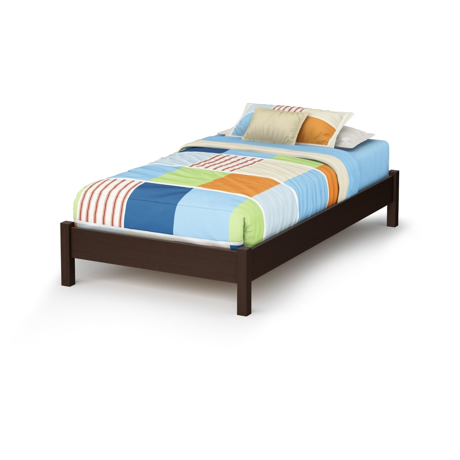 Twin size Modern Platform Bed Frame in Chocolate Brown Finish ...
