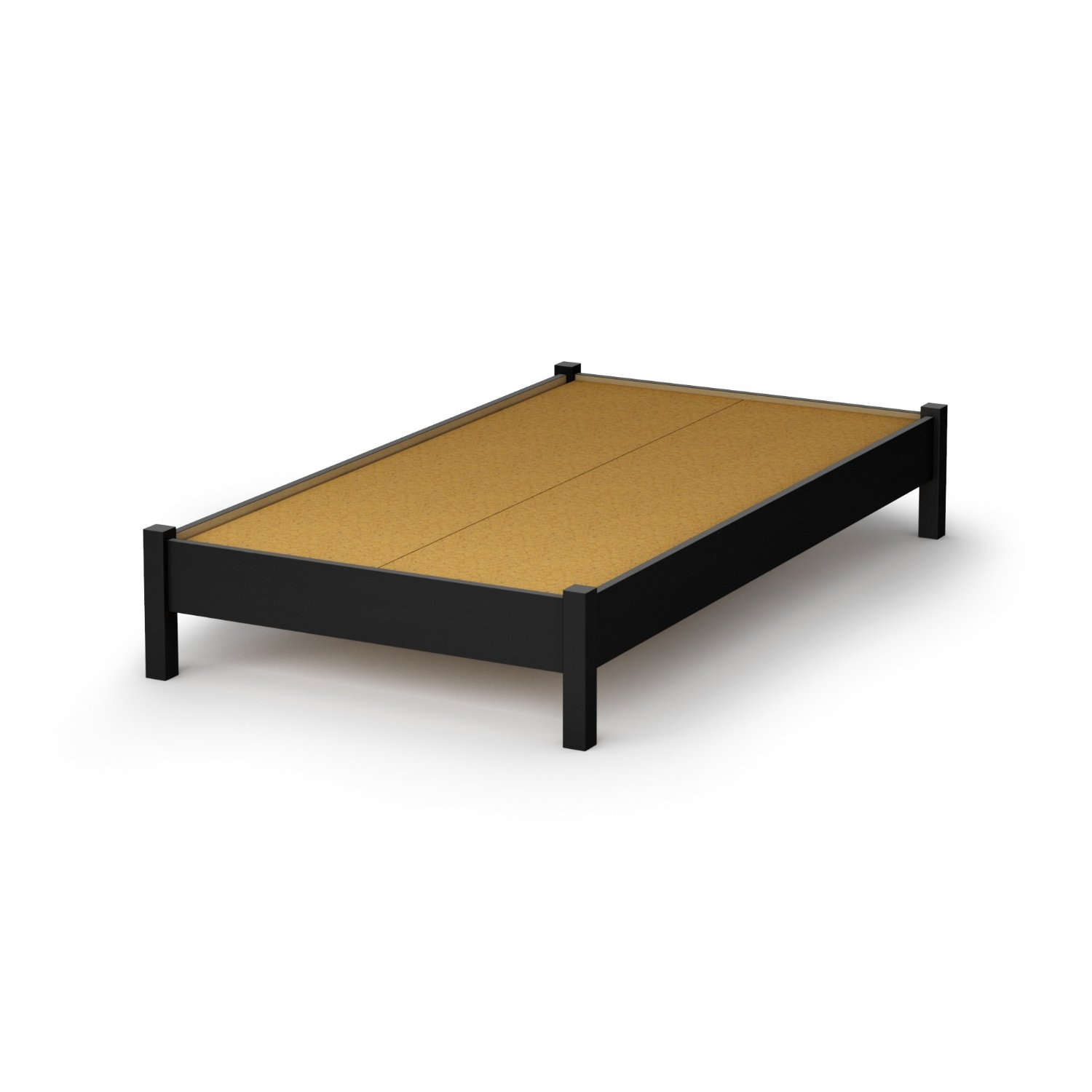 Twin size Contemporary Platform Bed Frame in Black Wood Finish ...