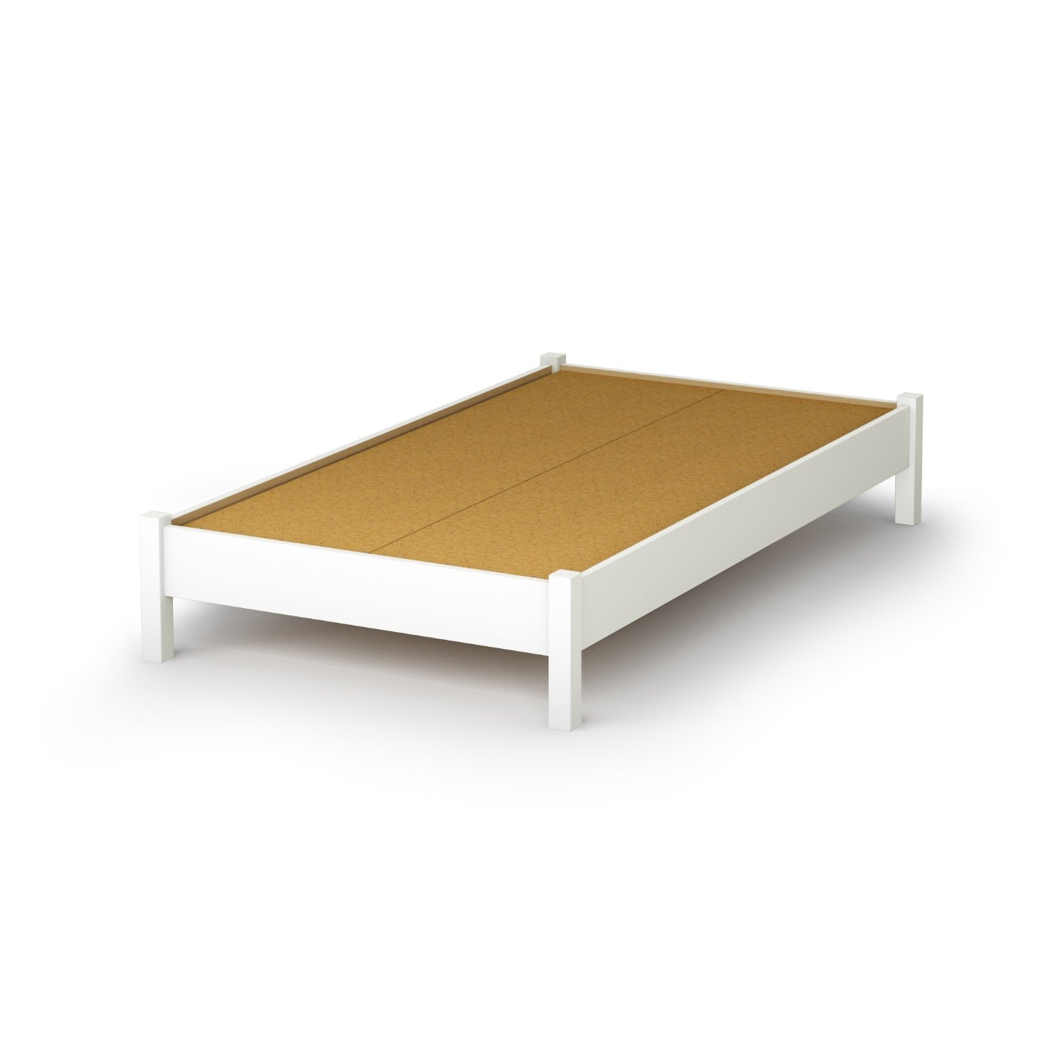 Twin Size Simple Platform Bed Frame In White Wood Finish