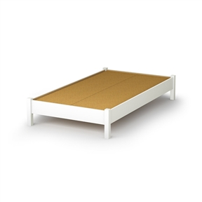 twin size simple platform bed frame in white wood finish. Black Bedroom Furniture Sets. Home Design Ideas