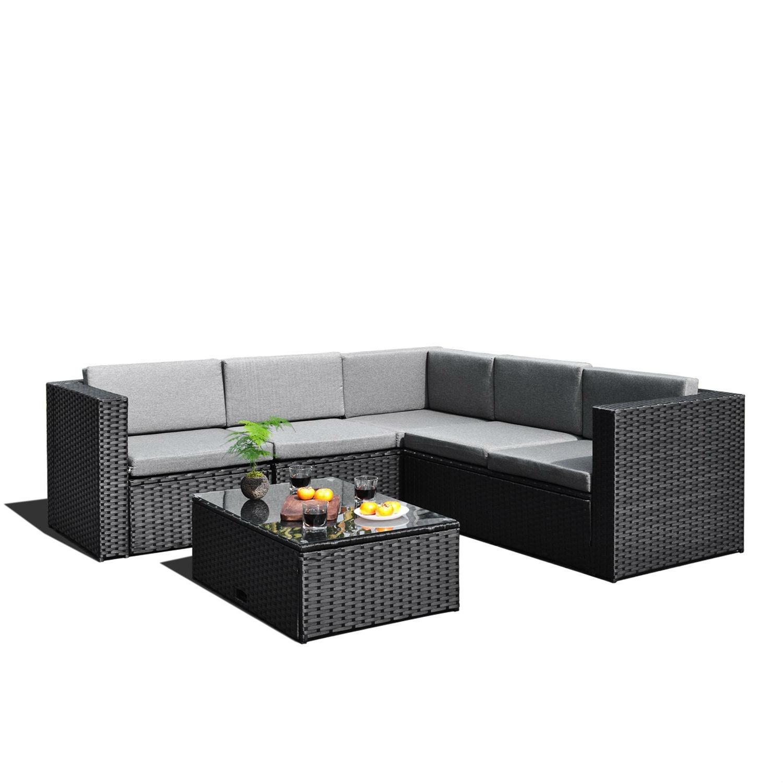 Black Wicker Resin 4 Piece Outdoor Patio Furniture Set Fastfurnishings