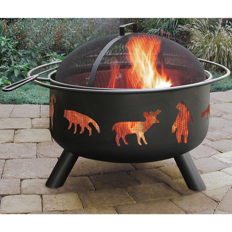 Black Steel Outdoor Fire Pit with Bear Deer Animals