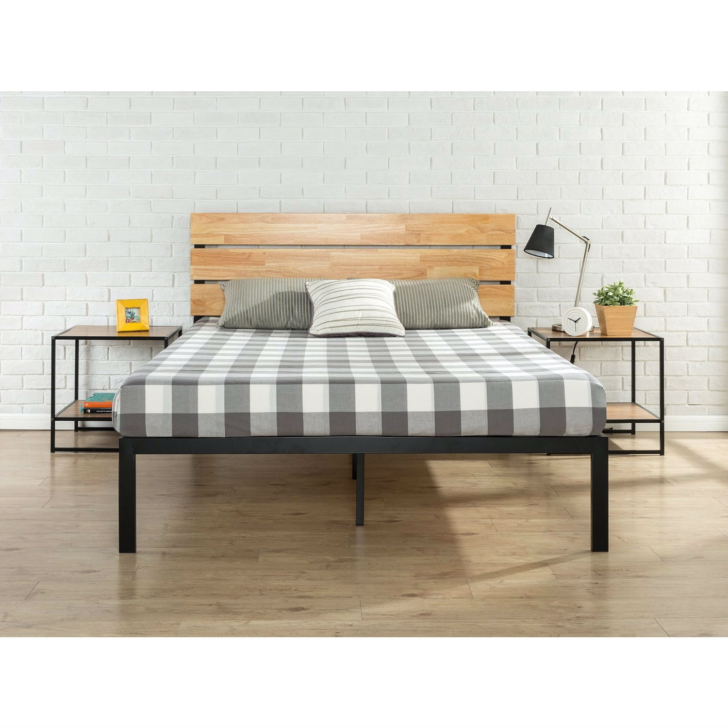 King Size Modern Metal Platform Bed Frame With Wood Headboard And Slats Fastfurnishings Com