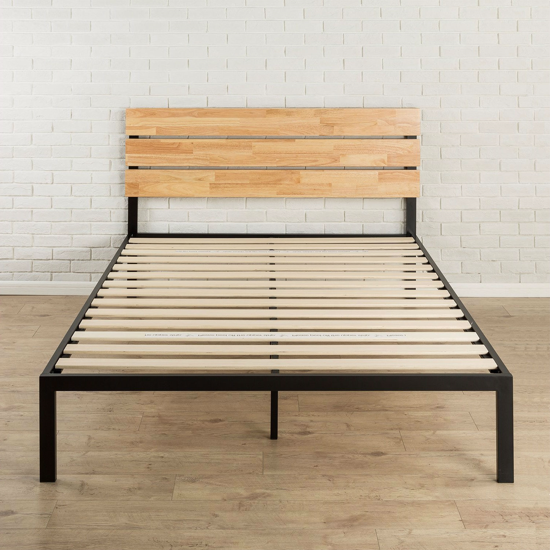 King Size Modern Metal Platform Bed Frame With Wood Headboard And Slats Fastfurnishings Com