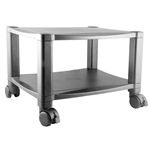 Sturdy 2-Shelf Mobile Printer Stand Cart in Black with Locking Casters