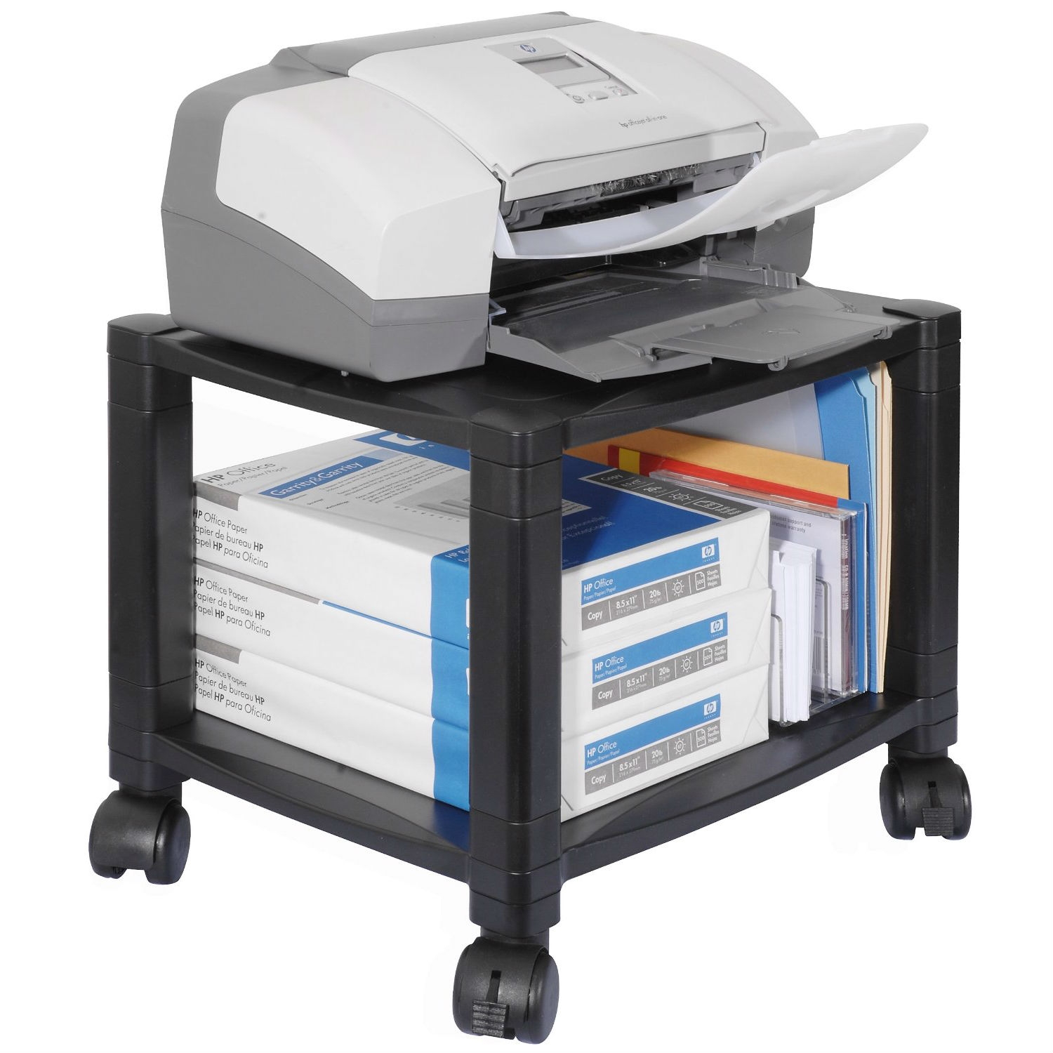 Sturdy 2-Shelf Mobile Printer Stand Cart in Black with Locking ...