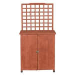 Outdoor Storage Solid Wood Cabinet Potting Bench with Hanging Lattice Trellis