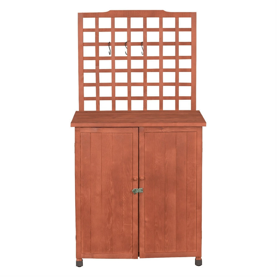 Exceptional Outdoor Storage Solid Wood Cabinet Potting Bench With Hanging Lattice  Trellis