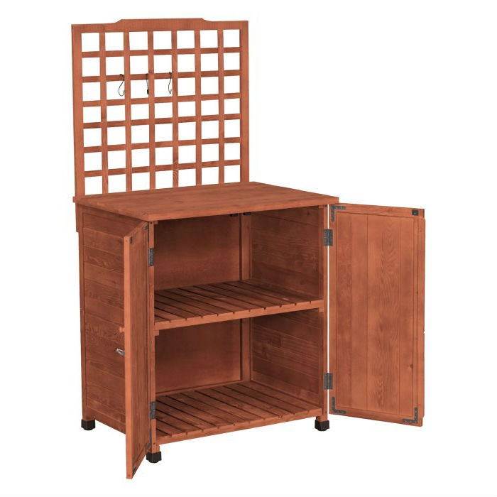 Outdoor Storage Solid Wood Cabinet Potting Bench with Hanging ...