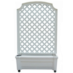 Indoor/Outdoor White Polypropylene Wheeled Trellis Planter