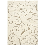 3'3 x 5'3 Shag Area Rug in Beige Off White with Scrolling Floral Pattern