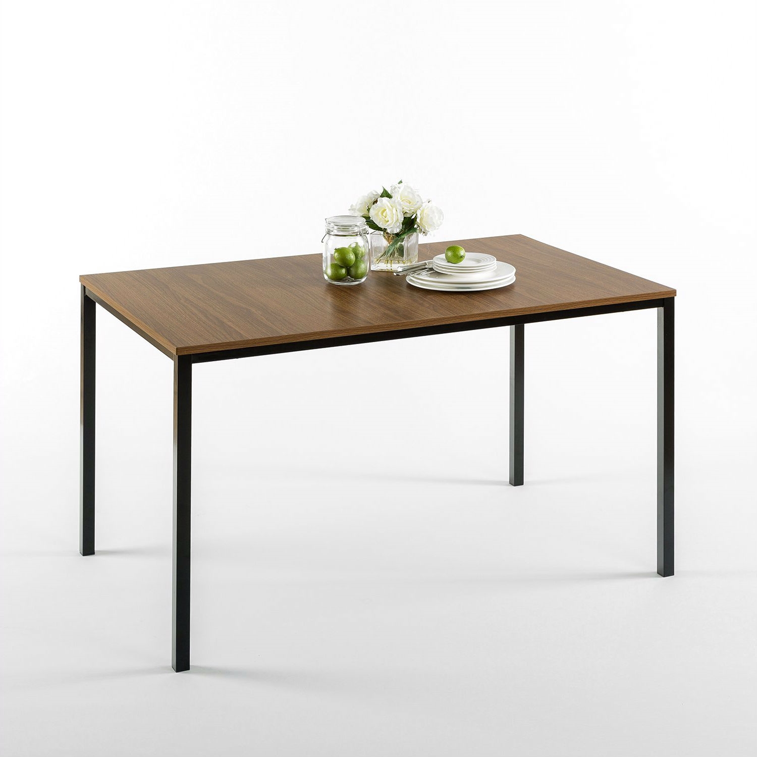 Modern 48 x 30 inch Steel Frame Dining Table with Wood Grain Top ...