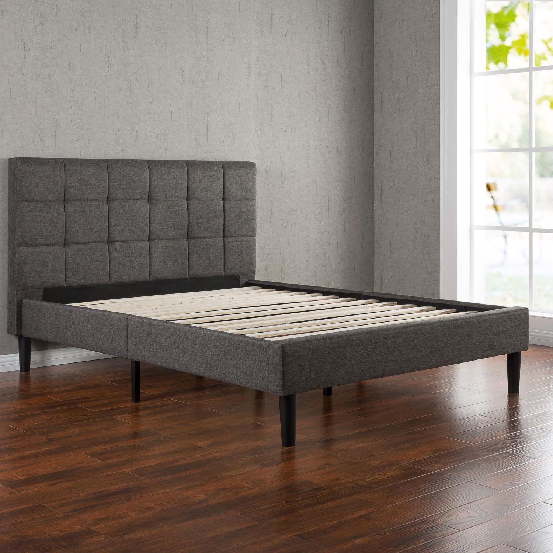Full Size Modern Platform Bed With Dark Grey Square