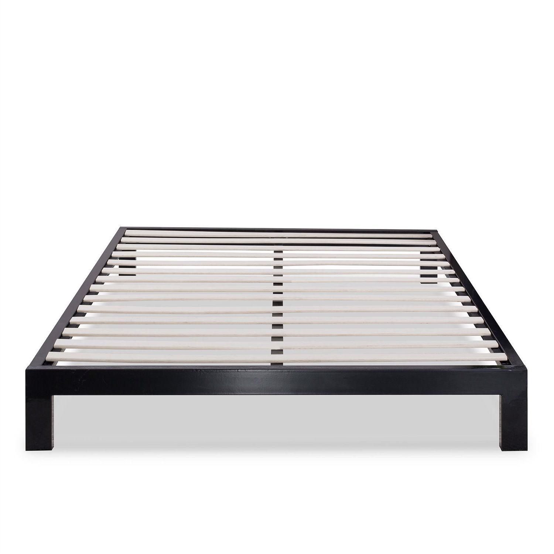 King Size Modern Black Metal Platform Bed Frame With Wood Slats Fastfurnishings Com