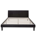King size Faux Leather Platform Bed Frame with Headboard in Espresso