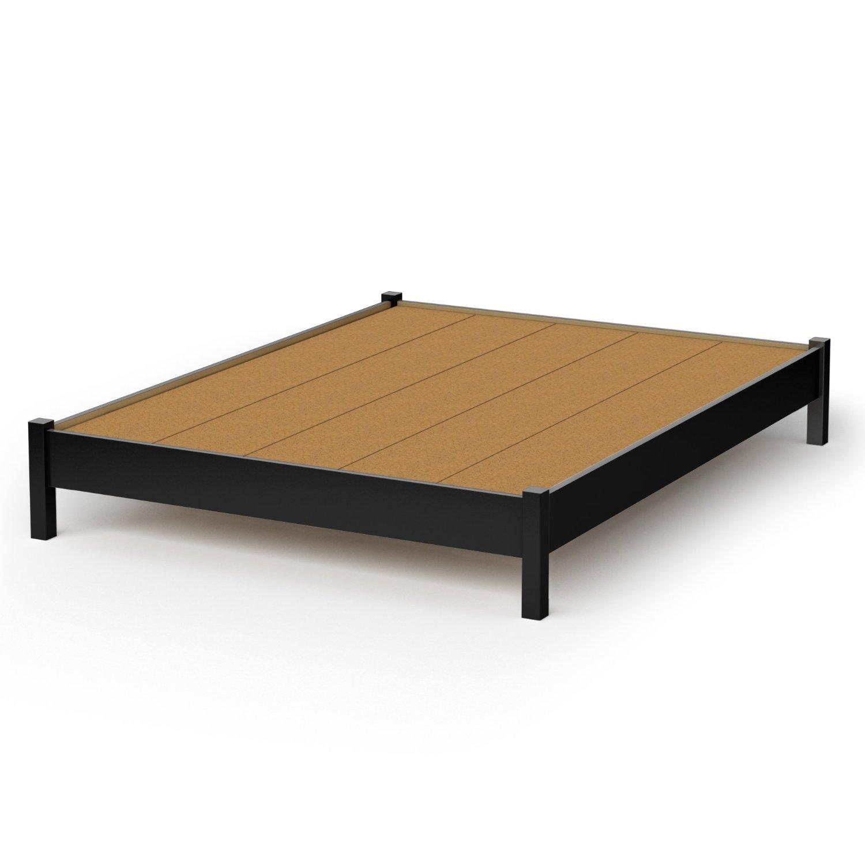 Queen size Platform Bed in Black Finish - Simple Modern Design