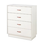 White 4-Drawer Chest with Interchangeable Handles