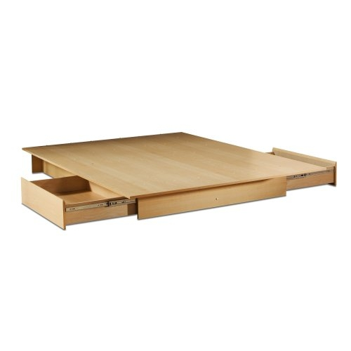 Full Queen Maple Platform Bed With 2 Storage Drawers