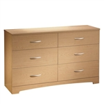 6 Drawer Triple Dresser Modern Bedroom in Natural Maple Finish