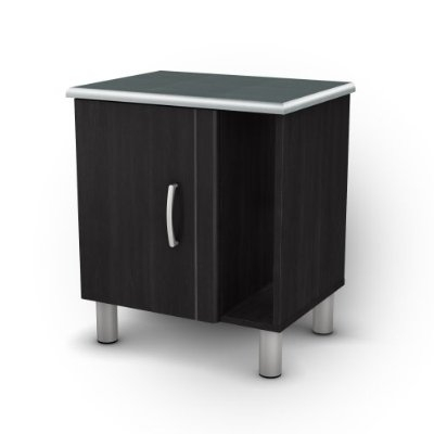 Black Onyx Nightstand with 1 Door & 1 Adjustable Shelf