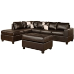 Reversible Soft Touch Faux Leather 3-Piece Sectional Sofa Set