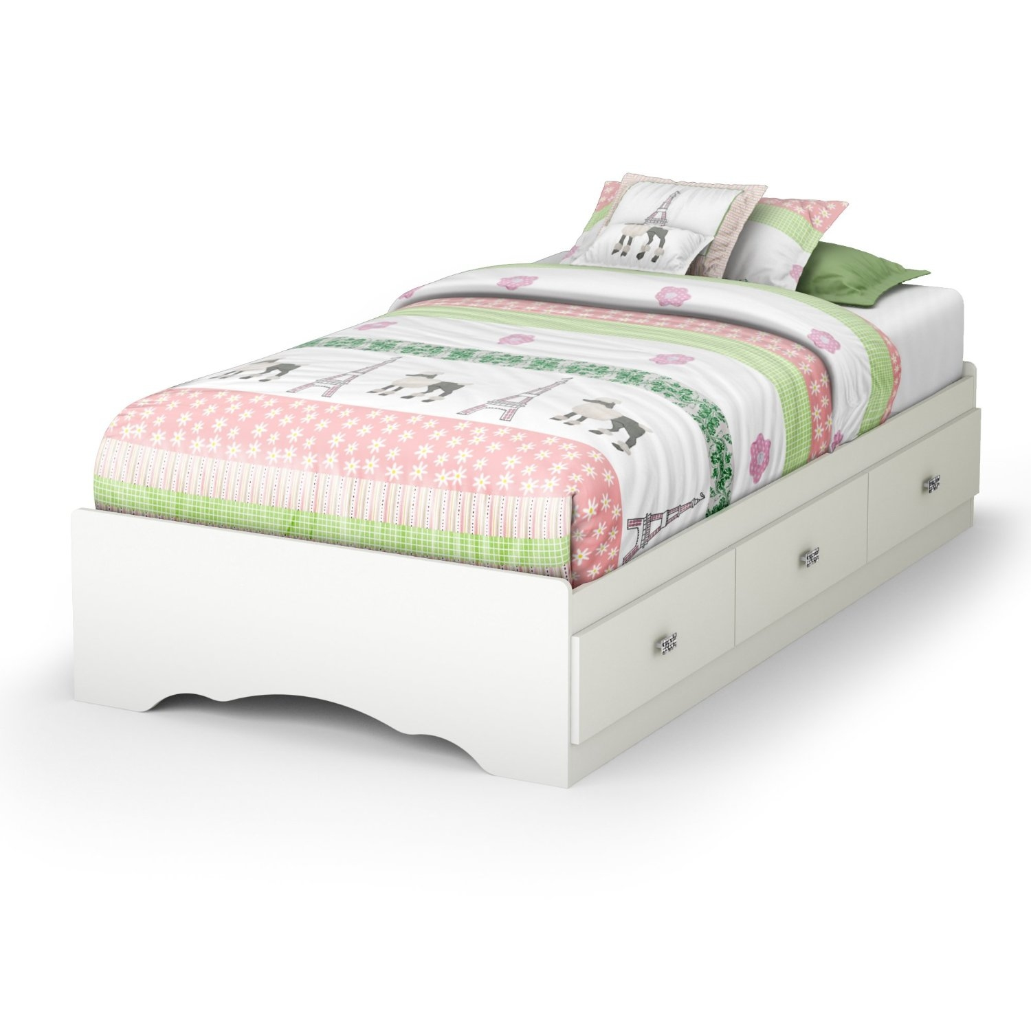 Picture of: Twin Size White Platform Bed Frame With 3 Storage Drawers Fastfurnishings Com