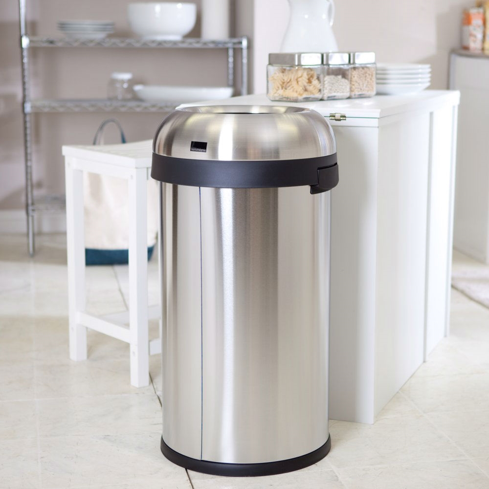 Round Stainless Steel 16 Gallon Kitchen Trash Can With Open Top Design